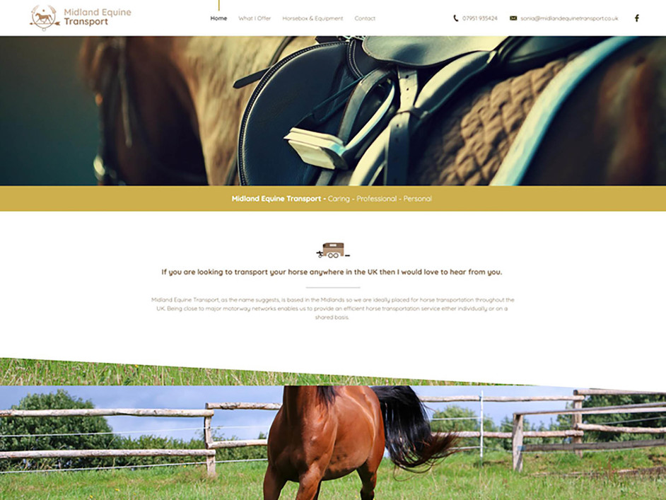 The Midland Equine Transport website created by it'seeze Northampton