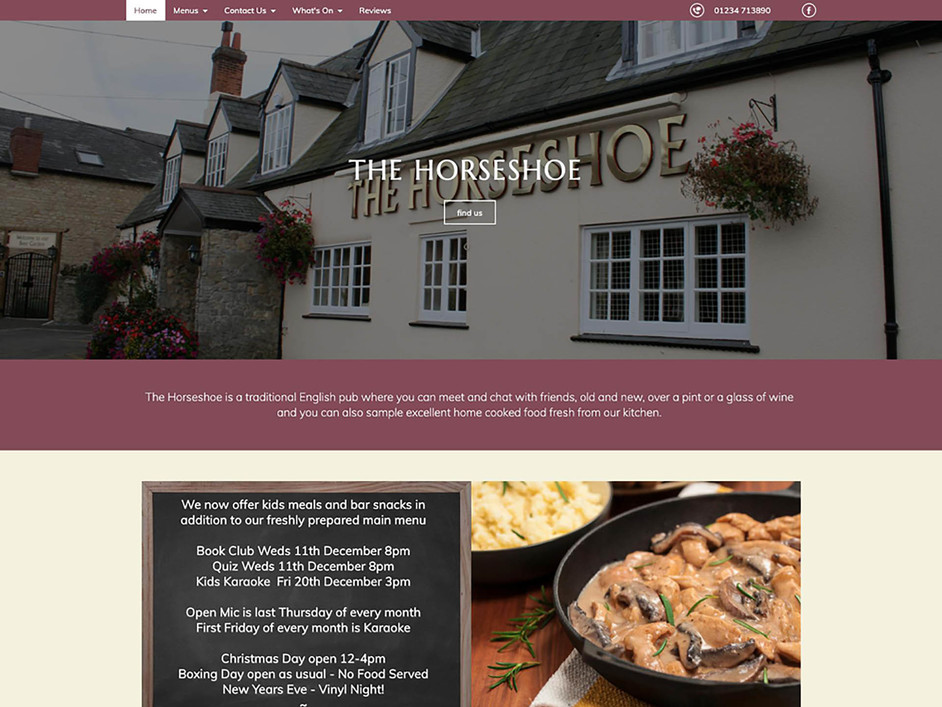 The Horseshoe website created by it'seeze Northampton